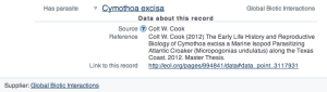 Reference to Colt W. Cook dataset from the EOL's Atlantic Croaker data page.